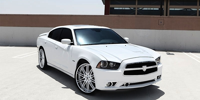 dodge charger with asanti wheels da504 - White Dodge Charger